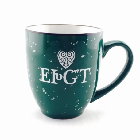 Ceramic I Love You Mug in forest green