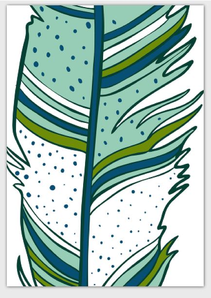 Feathers Card Green