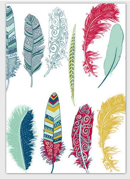 Multi-colored Feathers Note Card