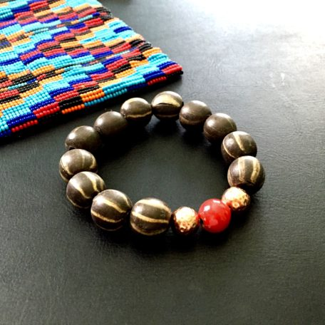 Bracelet striped clay with copper and red trade bead accent
