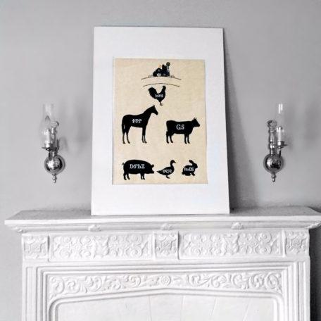 Farm Animal Wood Print Framed Example