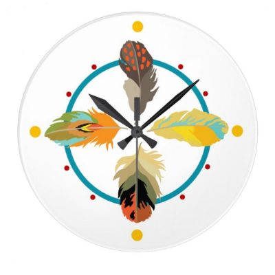 Four Feathers Round Clock