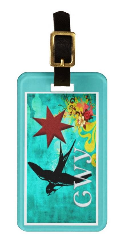 Blue Fly Away Luggage Tag