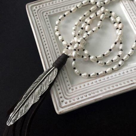 Silvertone Feather Necklace