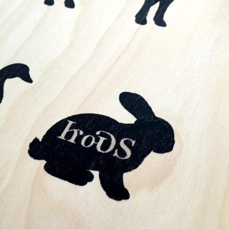 Farm Animal Wood Print Detail