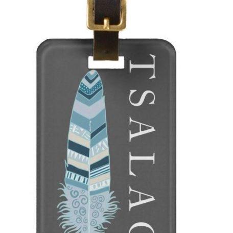 Grey Feather Luggage Tag